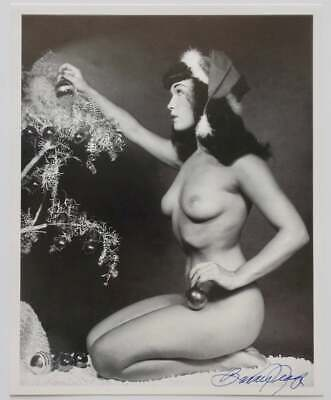 Infamous Christmas Bettie Page Pin-Up Lithograph NOS Hand Signed by Bunny Yeager