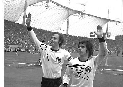 Franz Beckenbauer  Gerd Muller Germany football Authentic Signed photo GK1176a