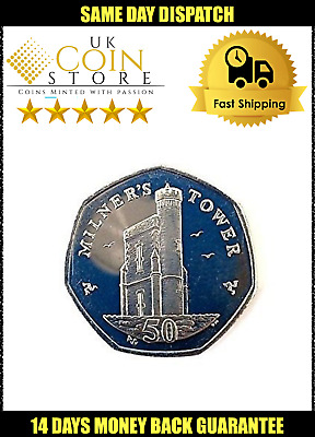 50p FIFTY PENCE COIN MANX ISLE OF MAN MILNERS TOWER CIRCULATED 🇮🇲 KM1258