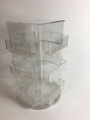 24 Pocket Acrylic Counter Top Small Gift Card Holder Display Spinner Used