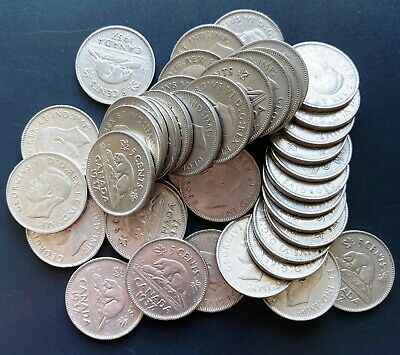 Lot of 40x 1937 Canada 5 Cent Coins - King George VI Nickels