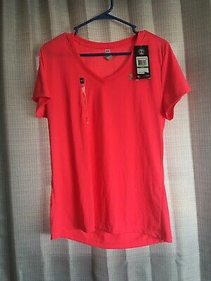 Under Armour V-neck T-Shirt Heatgear Pink Loose Fit Women's Size Large NWT