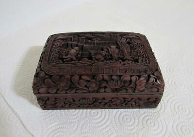 Chinese Antique cinnabar lacquer box hand carved figures authentic and signed