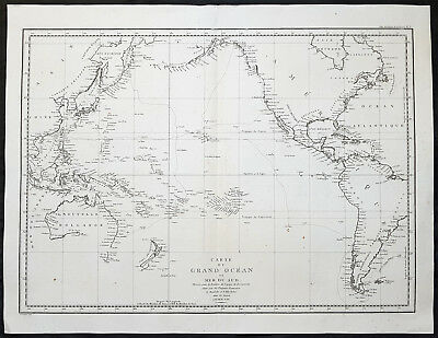 1797 La Perouse Large Original Antique Map of Australia, America & The Pacific