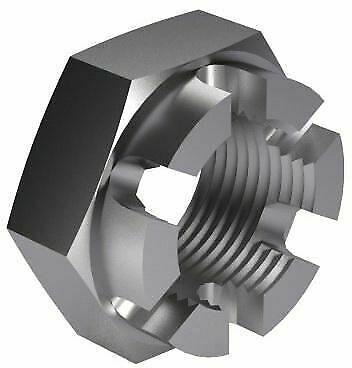 100x Hexagon thin slotted and castle nut MF DIN 979 Steel Plain 04 M10X1,00