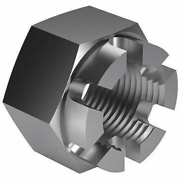 100x Hexagon slotted and castle nut UNF BS ≈1768 Steel Plain 6 3/8
