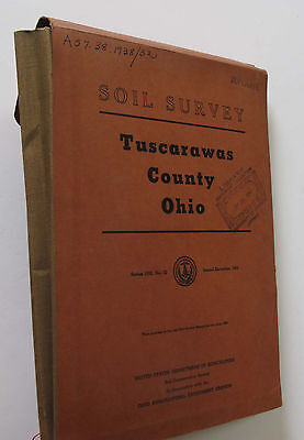 4 Sheet Folded Soil Survey Map Tuscarawas County Ohio New Philadelphia OH 1953
