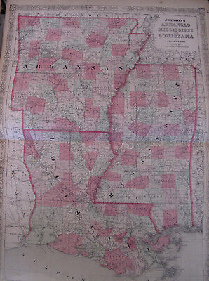 Hand Colored Map Johnson's Atlas Arkansas Mississippi Louisiana New Orleans 1863