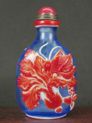 Chinese Cricket Cabbage Carved Peking Overlay Glass Snuff Bottle