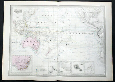 1857 A H Dufour Large Rare Antique Map of Australia, New Zealand & South Pacific