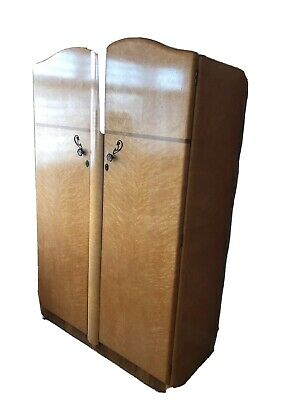 Original Vintage Gentlemen's Art Deco Walnut  Large 2 Door Wardrobe