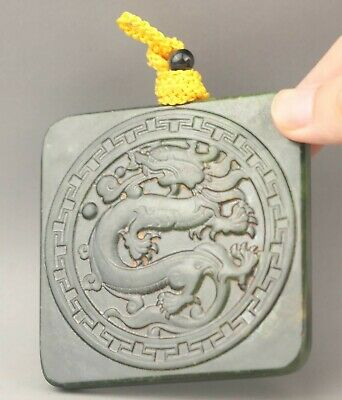 Chinese old natural hetian green jade hand-carved statue dragon pendant 3.3 inch