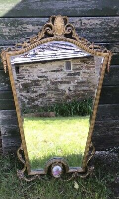 Antique Vintage Ornate  Large Louis XV1 French Limoge Bevelled Mirror Gold