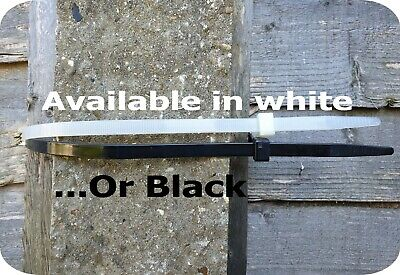 20 White Fence Post Panel Cable Ties. Heavy Duty. Extra Long. Garden. Workshop
