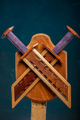 Hand Made Custom Fantasy Mahogany and Maple Wooden Prop Swords with Wall Mount