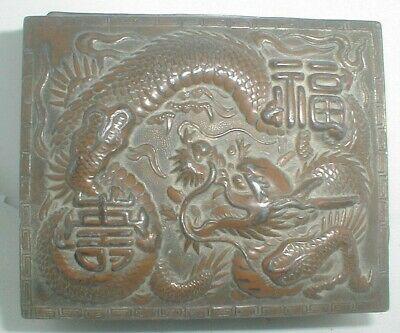 ANTIQUE Vintage CHINESE ART BRONZED LID DRAGON REPOUSSE tobacco TRINKET BOX