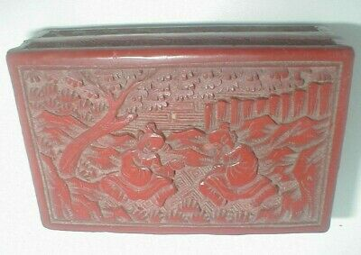 ANTIQUE Vintage CHINESE ART CINNABAR Laquer CARVED PEOPLE tobacco TRINKET BOX