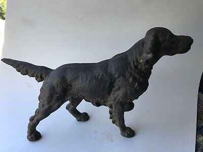 ANTIQUE HUBLEY? CAST IRON IRISH SETTER HUNTING DOG ART STATUE Unpainted