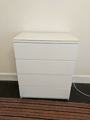 Ikea Malm 4 drawer chest of drawers With protective glass top (and spare!)