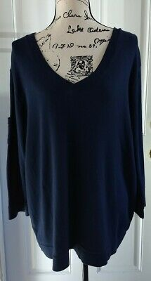 Fresh Produce Navy Blue Cotton V Neck 3/4 Sleeves Soft Top Shirt Womens Size 2X