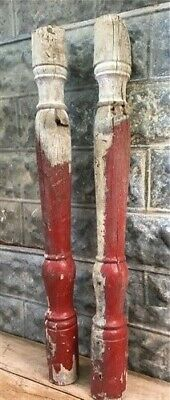 Red Antique Chunky Balusters, Vintage Wood Spindles Architectural Salvage