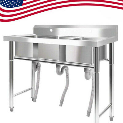 """New 39"""" Wide Stainless Steel Bar 3Compartment Sink Kitchen Silver Commercial USA"""