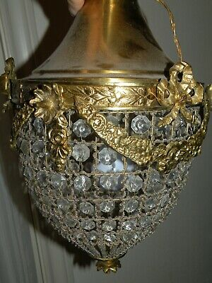 Antique French Crystal Beaded Brass Tone Light Ceiling Fixture Basket Chandelier