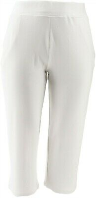 Belle Kim Gravel Lovabelle Lounge Cropped Pants White L NEW A351606
