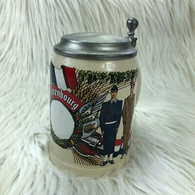 Vintage Kronenbourg Military Ceramic Beer Stein West Germany Army Navy Marines