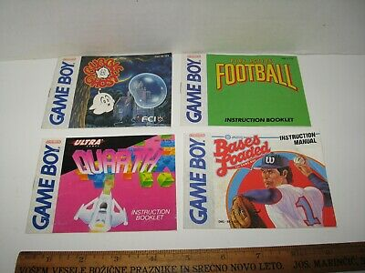 Lot of 4 Game Boy Manuals Bubble Ghost Quarth Bases Loaded Play Action Football