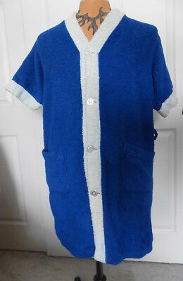 Vintage Blue and White Terrycloth Cabana Jacket Towncraft Med 38-40 Penneys