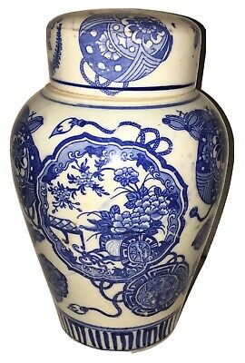 Antique Chinese Blue & White Porcelain Tea Caddy Import China