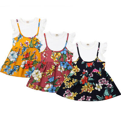 Toddler Kids Baby Girl Ruffle Short Sleeve Casual Summer Tutu Dress Clothes