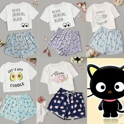 Ladies Pyjamas Pyjama Set Bottoms Cute Girls Short Sleeve Print Top and Shorts