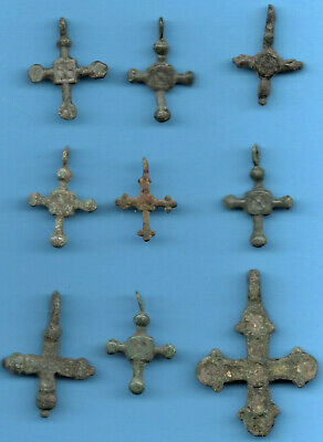 LOT OF 9 Ancient Viking Enamel Bronze Cross Kiev Russia ca 1100 Byzantine 3