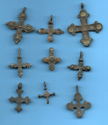 LOT OF 9 Ancient Viking Enamel Bronze Cross Kiev Russia ca 1100 Byzantine 52