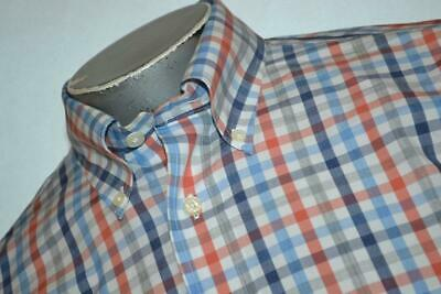 8827-a Mens Brooks Brothers Dress Shirt Size Medium Blue Gray Red Plaid