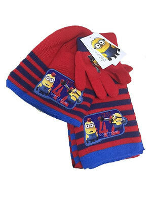 Set Winter Scarf Hat Gloves Minions Despicable Me 00935