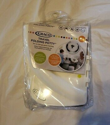 NEW!! --> Graco TRAVEL FOLDING POTTY Green White On the Go Potty Training Toilet