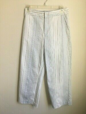 Lucy Paris Jardin Pant Womens Size Small White Blue Striped Cropped