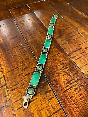 "David Andersen DA Norway Enamel Guilloche Sterling Bracelet 7 1/2"" Green Black"