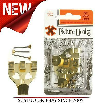 X Picture Hooks No.4 Brass Plated 2 Pack Blister