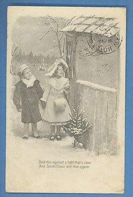 Christmas Santa Claus Holt To Light Vintage Postcard 1950