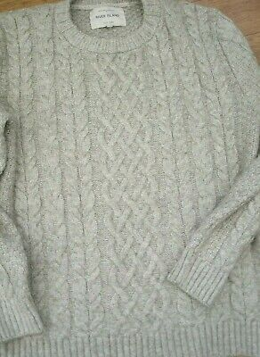 """Mens's /Boys River Island Chunky Cable Grey Jumper  S - 40"""""""