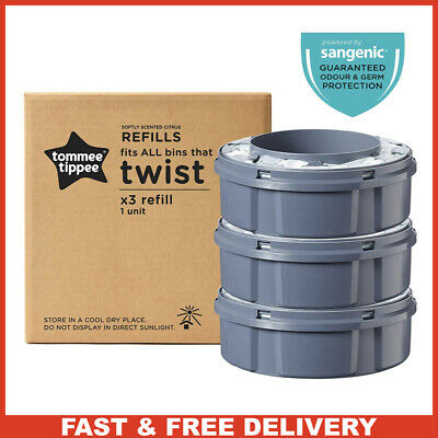 Tommee Tippee Twist And Click Advanced Nappy Disposal Sangenic Tec Refills x3