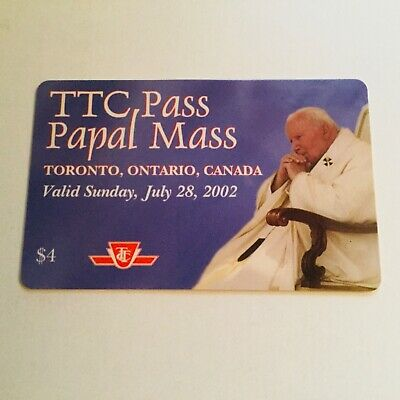 2002 Pope Toronto TTC bus pass for the Papal Mass visit