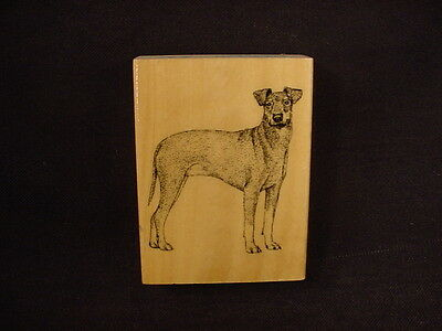 MANCHESTER TERRIER Rubber DOG STAMP wood mounted STAMPER puppy scrapbooking NEW