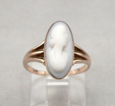 Antique Victorian 10K Gold Hand Carved Angelskin Cameo RING 2.2g Size 5.5