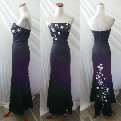 NEW Betsy & Adam BLACK Satin FLORAL Embroidered BEADED Strapless EVENING GOWN