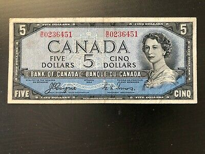 1954 Canada 5 Dollar Canadian Banknote Devil's Face Coyne & Towers B/C Series